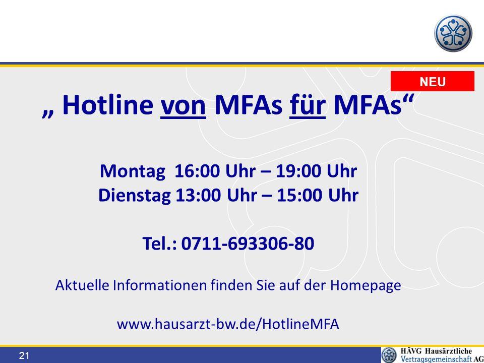 """21 NEU """" Hotline von MFAs für MFAs Montag 16:00 Uhr – 19:00 Uhr Dienstag 13:00 Uhr – 15:00 Uhr Tel.: 0711-693306-80 Aktuelle Informationen finden Sie auf der Homepage www.hausarzt-bw.de/HotlineMFA"""
