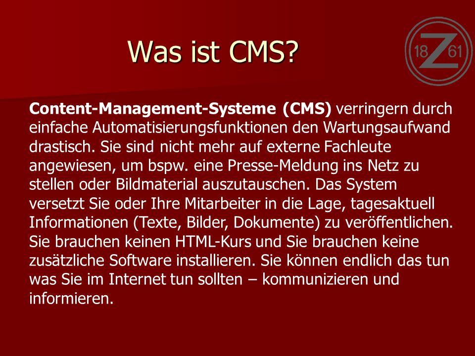 Was ist CMS.CMS beruhen grundsätzlich auf dem Prinzip der Trennung von Inhalt und Layout.