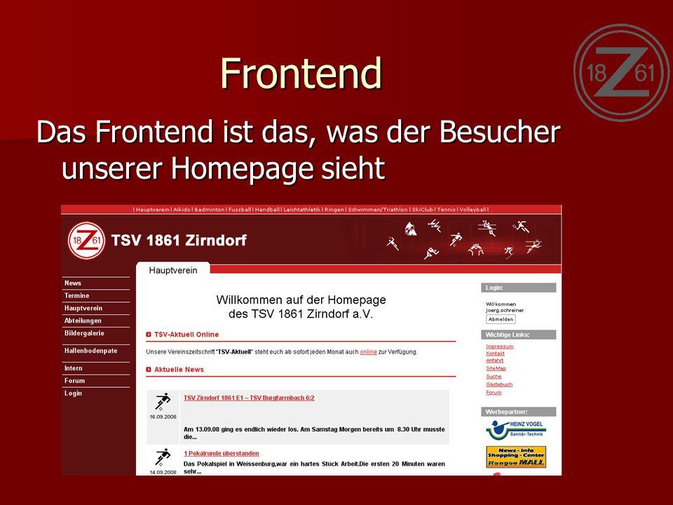 Frontend Das Frontend ist das, was der Besucher unserer Homepage sieht