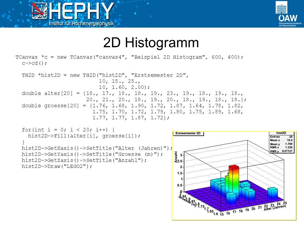 2D Histogramm TCanvas *c = new TCanvas(