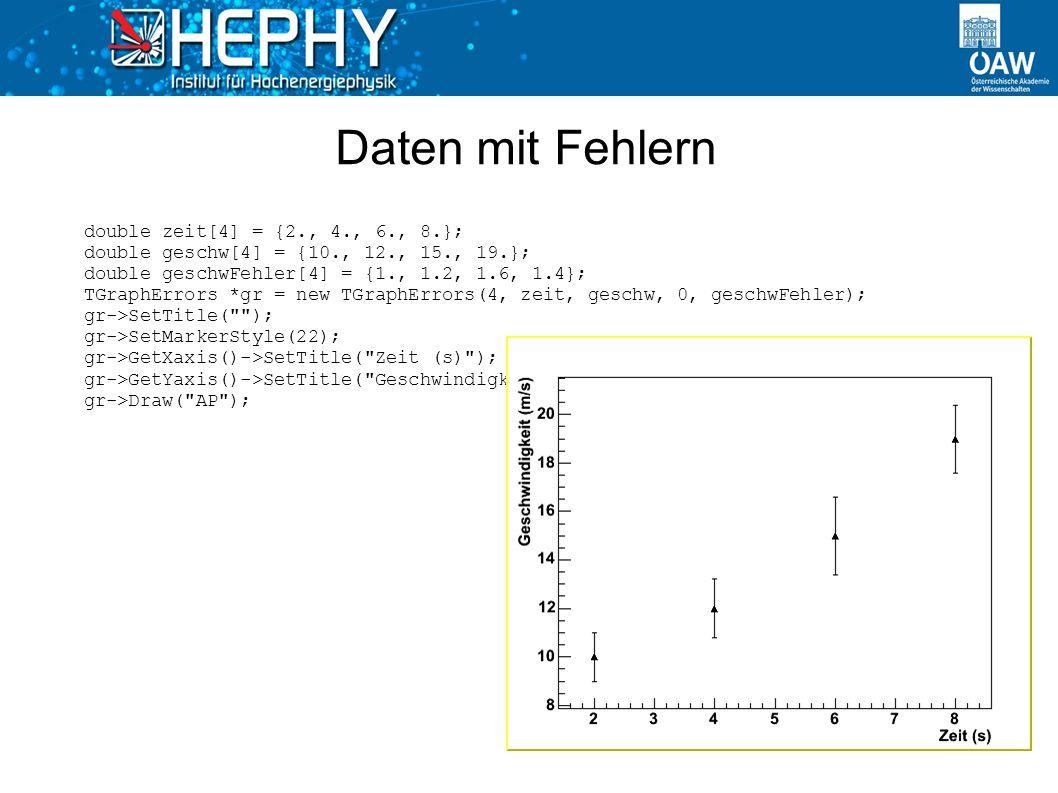 Daten mit Fehlern double zeit[4] = {2., 4., 6., 8.}; double geschw[4] = {10., 12., 15., 19.}; double geschwFehler[4] = {1., 1.2, 1.6, 1.4}; TGraphErro