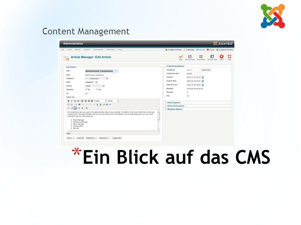 * Ein Blick auf das CMS Content Management