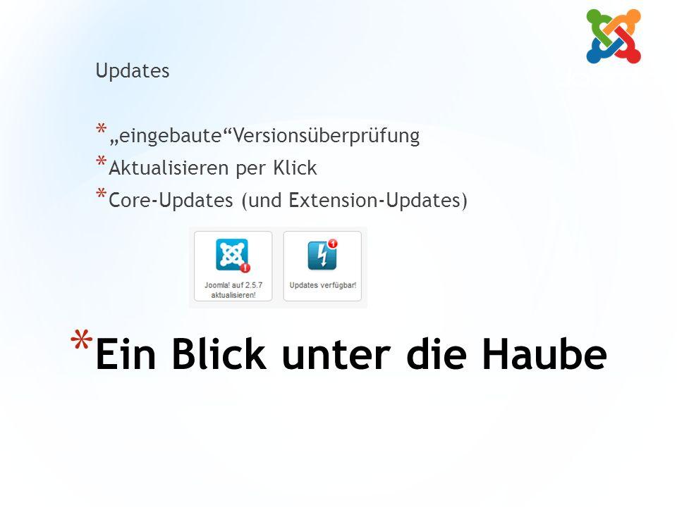 """* Ein Blick unter die Haube Updates * """"eingebaute Versionsüberprüfung * Aktualisieren per Klick * Core-Updates (und Extension-Updates)"""