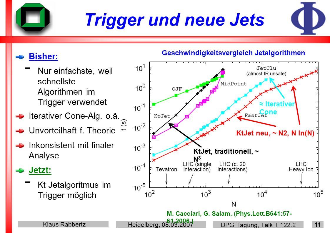 Klaus Rabbertz Heidelberg, 08.03.2007 DPG Tagung, Talk T 122.2 11 Trigger und neue Jets Bisher: - Nur einfachste, weil schnellste Algorithmen im Trigger verwendet Iterativer Cone-Alg.