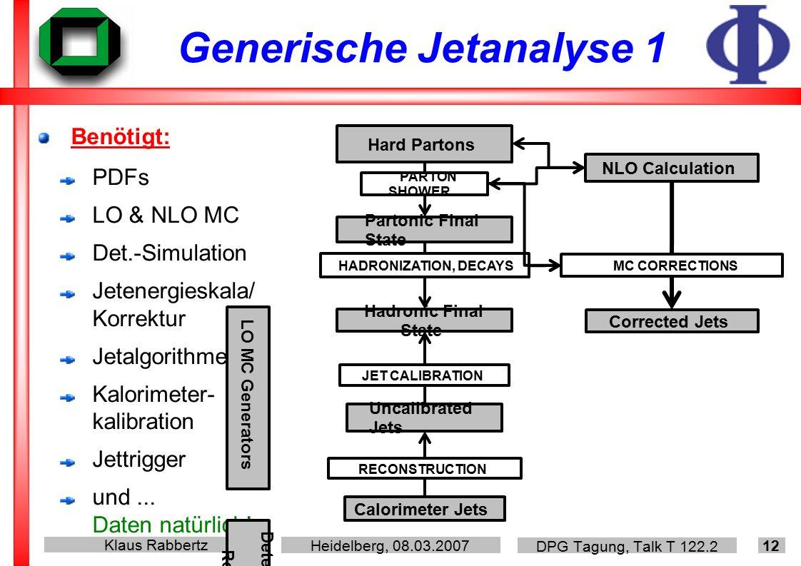 Klaus Rabbertz Heidelberg, 08.03.2007 DPG Tagung, Talk T 122.2 12 Generische Jetanalyse 1 Benötigt: PDFs LO & NLO MC Det.-Simulation Jetenergieskala/ Korrektur Jetalgorithmen Kalorimeter- kalibration Jettrigger und...