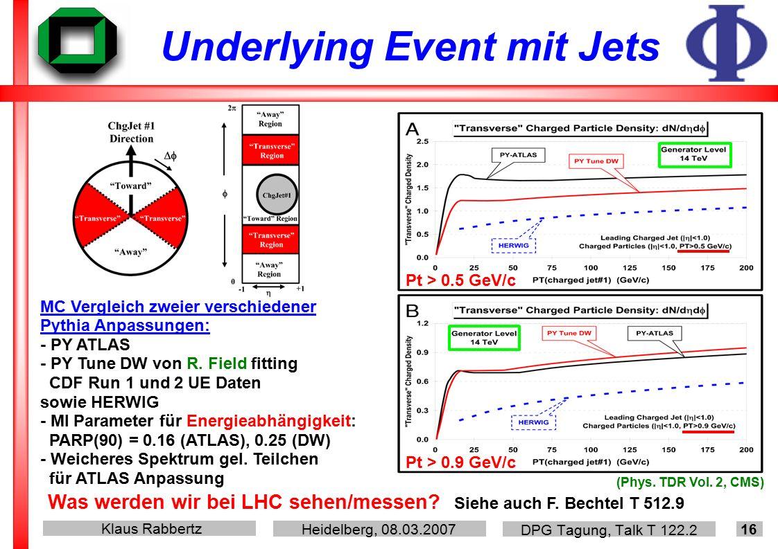 Klaus Rabbertz Heidelberg, 08.03.2007 DPG Tagung, Talk T 122.2 16 Underlying Event mit Jets Pt > 0.5 GeV/c Pt > 0.9 GeV/c MC Vergleich zweier verschiedener Pythia Anpassungen: - PY ATLAS - PY Tune DW von R.