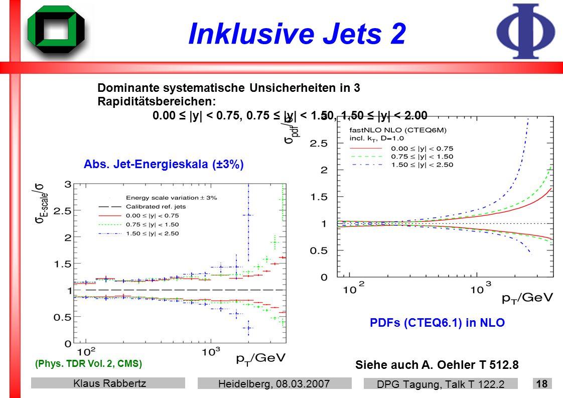 Klaus Rabbertz Heidelberg, 08.03.2007 DPG Tagung, Talk T 122.2 18 Inklusive Jets 2 (Phys.