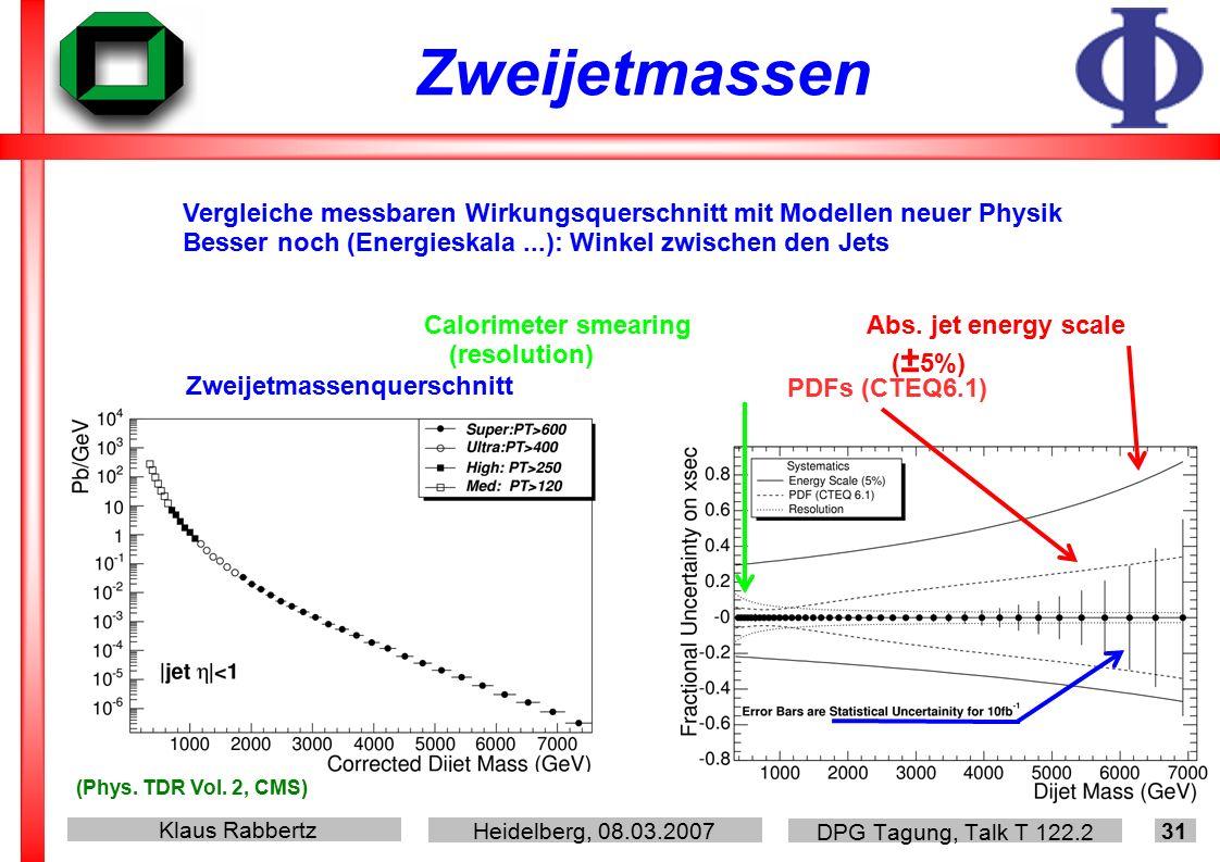 Klaus Rabbertz Heidelberg, 08.03.2007 DPG Tagung, Talk T 122.2 31 Zweijetmassen Abs.