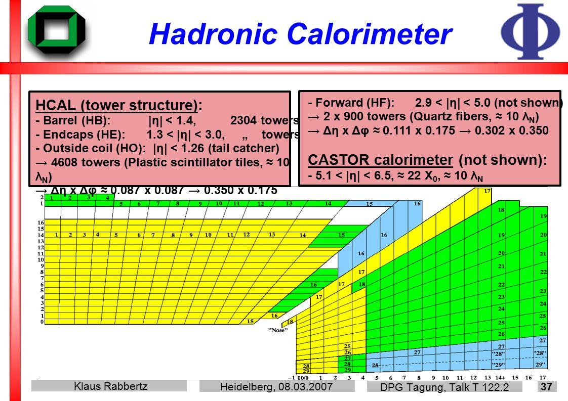 Klaus Rabbertz Heidelberg, 08.03.2007 DPG Tagung, Talk T 122.2 37 Hadronic Calorimeter HCAL (tower structure): - Barrel (HB): |η| < 1.4, 2304 towers -