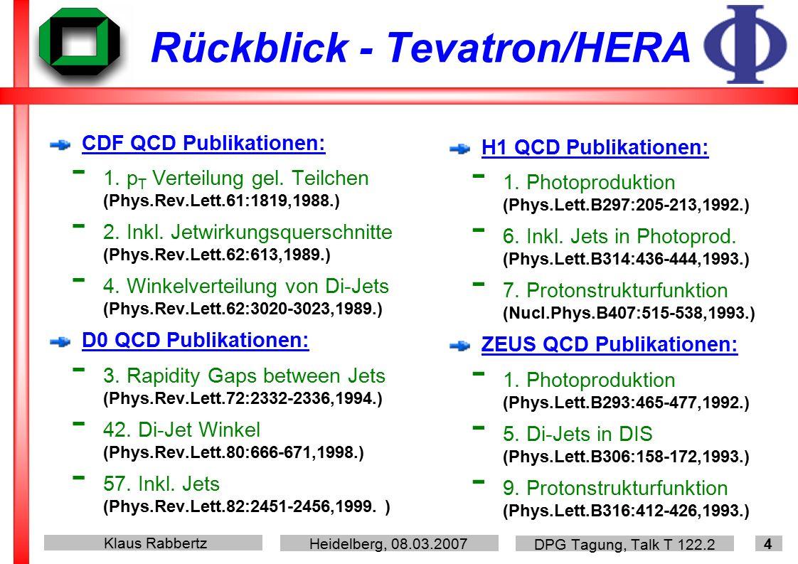 Klaus Rabbertz Heidelberg, 08.03.2007 DPG Tagung, Talk T 122.2 4 Rückblick - Tevatron/HERA CDF QCD Publikationen: - 1.