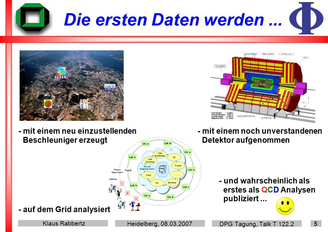Klaus Rabbertz Heidelberg, 08.03.2007 DPG Tagung, Talk T 122.2 5 Die ersten Daten werden...