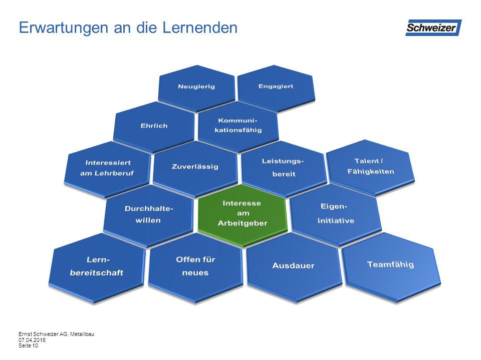 Erwartungen an die Lernenden 07.04.2016 Ernst Schweizer AG, Metallbau Seite 10