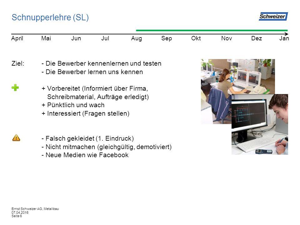 Schnupperlehre (SL) Ziel:- Die Bewerber kennenlernen und testen - Die Bewerber lernen uns kennen + Vorbereitet (Informiert über Firma, Schreibmaterial, Aufträge erledigt) + Pünktlich und wach + Interessiert (Fragen stellen) - Falsch gekleidet (1.