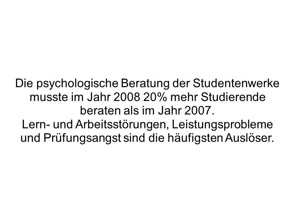 Die psychologische Beratung der Studentenwerke musste im Jahr 2008 20% mehr Studierende beraten als im Jahr 2007.