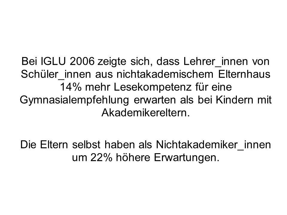 Bei IGLU 2006 zeigte sich, dass Lehrer_innen von Schüler_innen aus nichtakademischem Elternhaus 14% mehr Lesekompetenz für eine Gymnasialempfehlung erwarten als bei Kindern mit Akademikereltern.