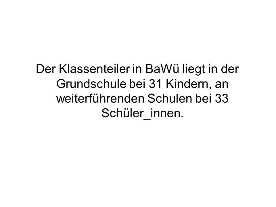 Der Klassenteiler in BaWü liegt in der Grundschule bei 31 Kindern, an weiterführenden Schulen bei 33 Schüler_innen.