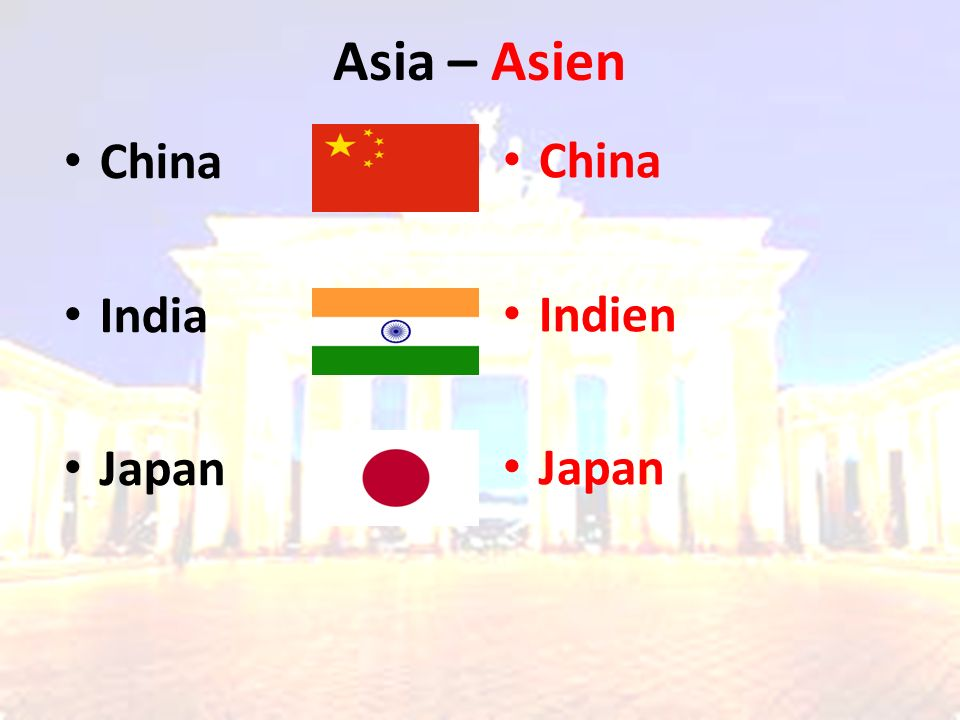 Asia – Asien China Indien Japan China India Japan