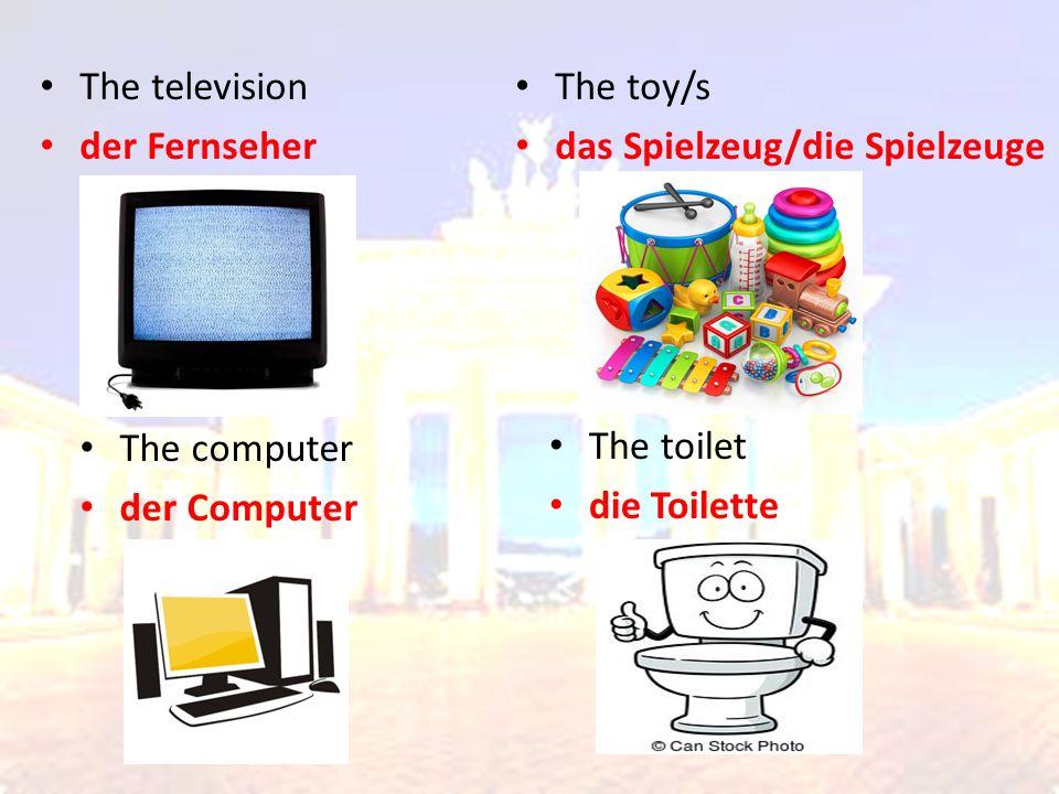 The television der Fernseher The toy/s das Spielzeug/die Spielzeuge The computer der Computer The toilet die Toilette