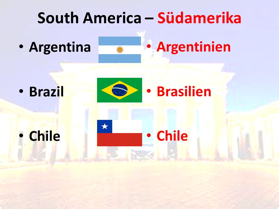 South America – Südamerika Argentinien Brasilien Chile Argentina Brazil Chile