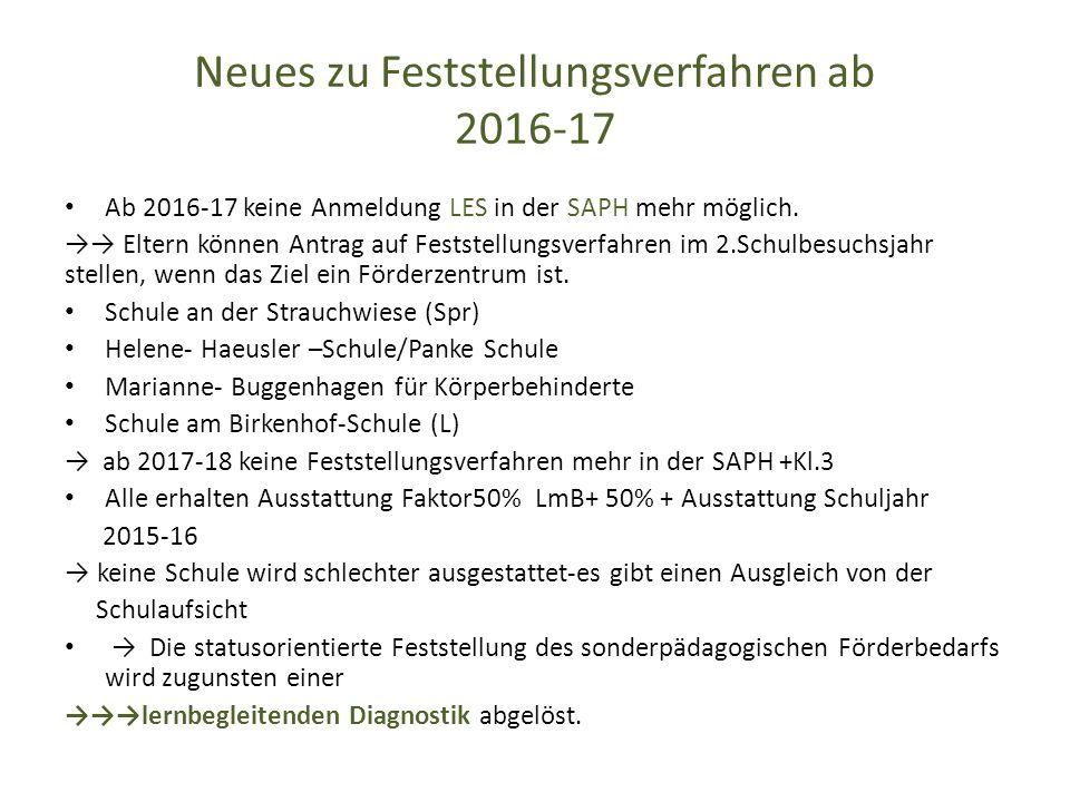 Neues zu Feststellungsverfahren ab 2016-17 Ab 2016-17 keine Anmeldung LES in der SAPH mehr möglich.