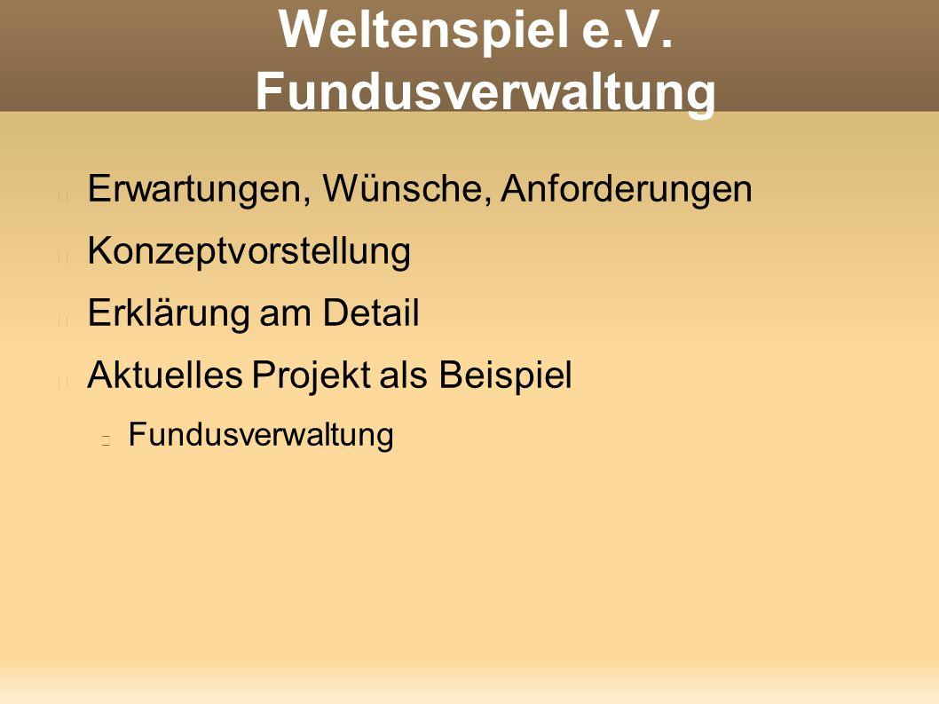 Weltenspiel e.V. Fundusverwaltung Erwartungen, Wünsche, Anforderungen Konzeptvorstellung Erklärung am Detail Aktuelles Projekt als Beispiel Fundusverw