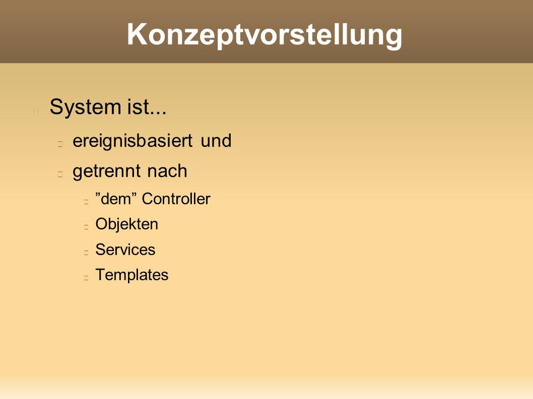"""Konzeptvorstellung System ist... ereignisbasiert und getrennt nach """"dem"""" Controller Objekten Services Templates"""