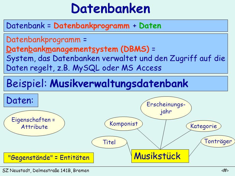 SZ Neustadt, Delmestraße 141B, Bremen 2 Relationale Datenbanken Feldnamen = Attribute Datensatz = Tupel Attributwert Felder In Relationalen Datenbanken werden die Daten in Tabellen (= Relationen) gespeichert.