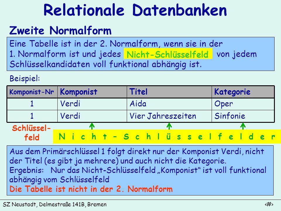 SZ Neustadt, Delmestraße 141B, Bremen 10 Relationale Datenbanken Zweite Normalform Eine Tabelle ist in der 2. Normalform, wenn sie in der 1. Normalfor