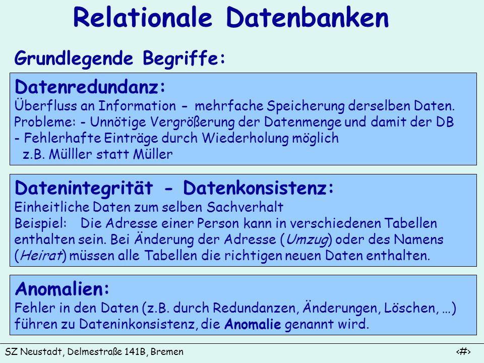 SZ Neustadt, Delmestraße 141B, Bremen 6 Relationale Datenbanken Grundlegende Begriffe (Fortsetzung): Schlüssel: Datenintegrität in relationalen Datenbanken basiert auf dem Konzept des Schlüssels.