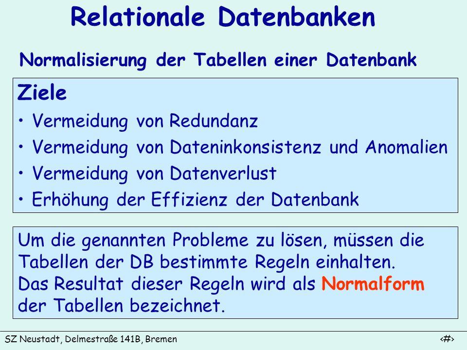 SZ Neustadt, Delmestraße 141B, Bremen 7 Relationale Datenbanken Normalisierung der Tabellen einer Datenbank Ziele Vermeidung von Redundanz Vermeidung