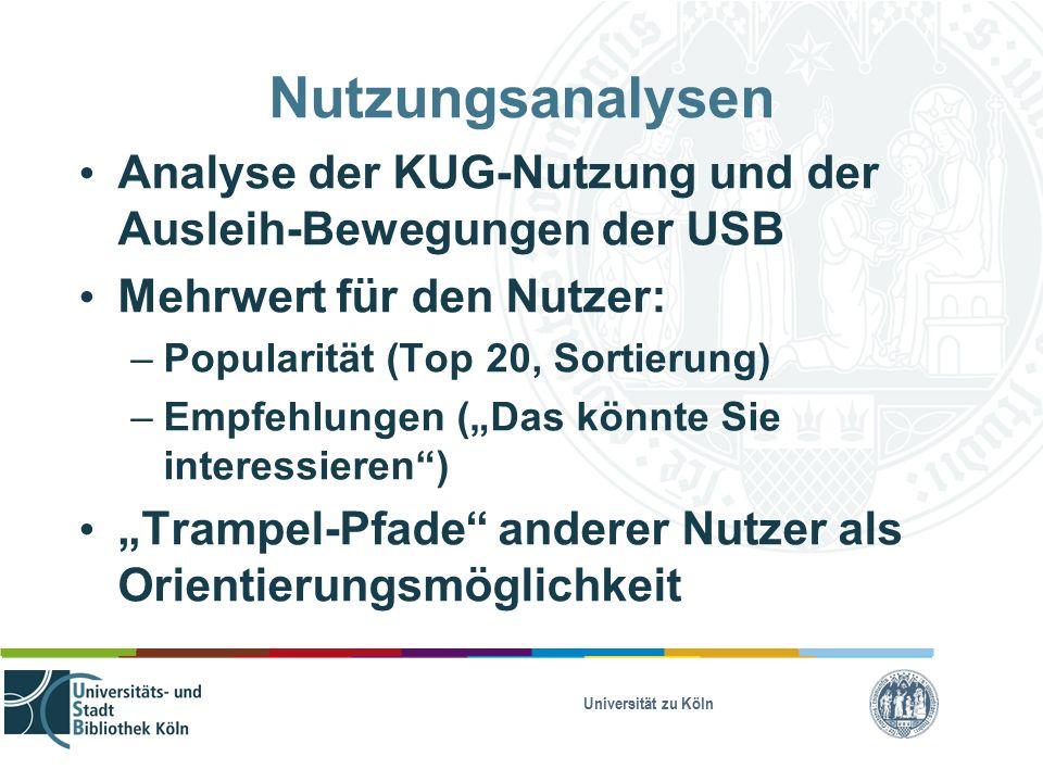 """Nutzungsanalysen Analyse der KUG-Nutzung und der Ausleih-Bewegungen der USB Mehrwert für den Nutzer: – Popularität (Top 20, Sortierung) – Empfehlungen (""""Das könnte Sie interessieren ) """"Trampel-Pfade anderer Nutzer als Orientierungsmöglichkeit"""