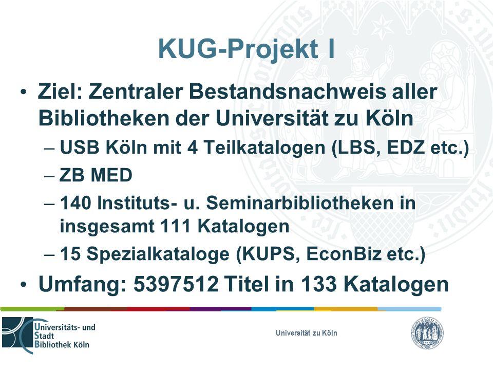 Universität zu Köln KUG-Projekt I Ziel: Zentraler Bestandsnachweis aller Bibliotheken der Universität zu Köln – USB Köln mit 4 Teilkatalogen (LBS, EDZ etc.) – ZB MED – 140 Instituts- u.
