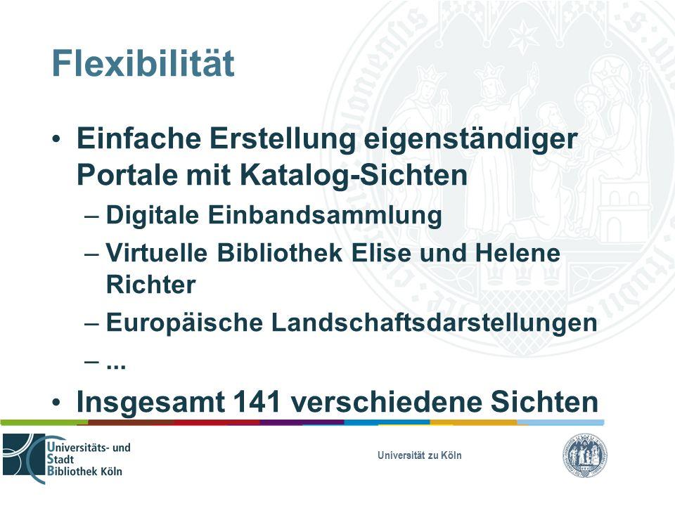 Universität zu Köln Flexibilität Einfache Erstellung eigenständiger Portale mit Katalog-Sichten – Digitale Einbandsammlung – Virtuelle Bibliothek Elise und Helene Richter – Europäische Landschaftsdarstellungen –...