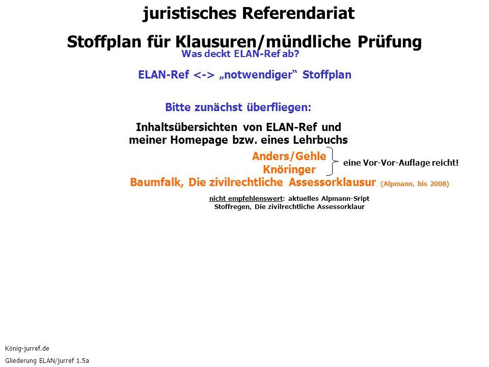 """König-jurref.de Gliederung ELAN/jurref 1.5a ELAN-Ref """"notwendiger Stoffplan Bitte zunächst überfliegen: Inhaltsübersichten von ELAN-Ref und meiner Homepage bzw."""