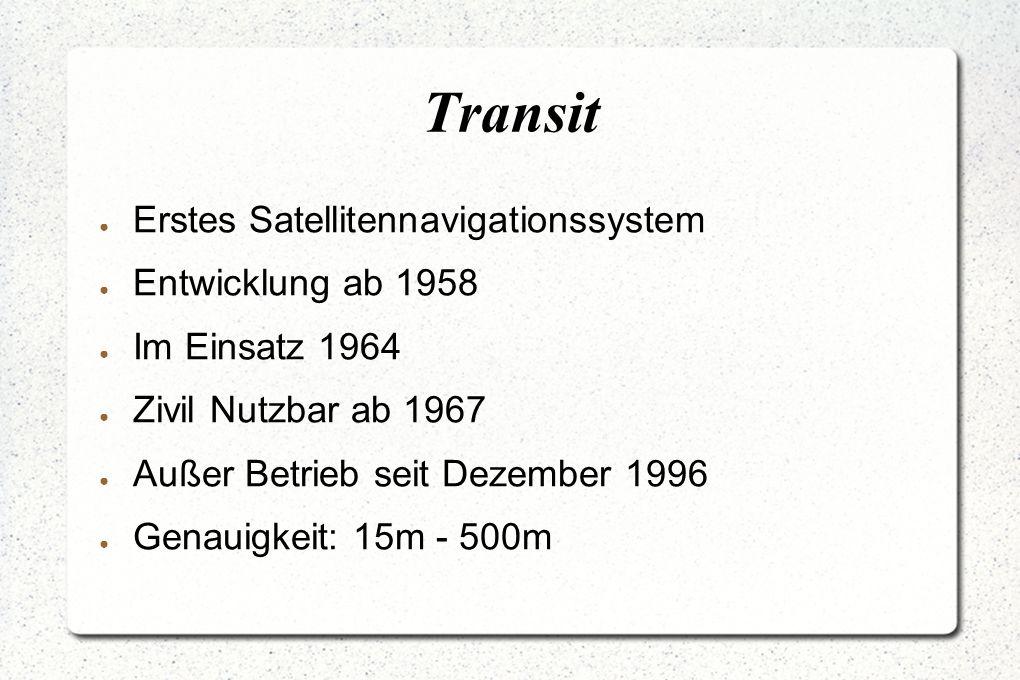 Transit ● Erstes Satellitennavigationssystem ● Entwicklung ab 1958 ● Im Einsatz 1964 ● Zivil Nutzbar ab 1967 ● Außer Betrieb seit Dezember 1996 ● Genauigkeit: 15m - 500m