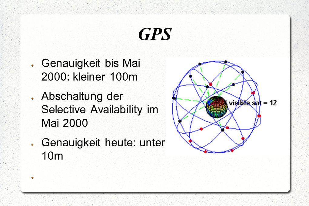 GPS ● Genauigkeit bis Mai 2000: kleiner 100m ● Abschaltung der Selective Availability im Mai 2000 ● Genauigkeit heute: unter 10m ●