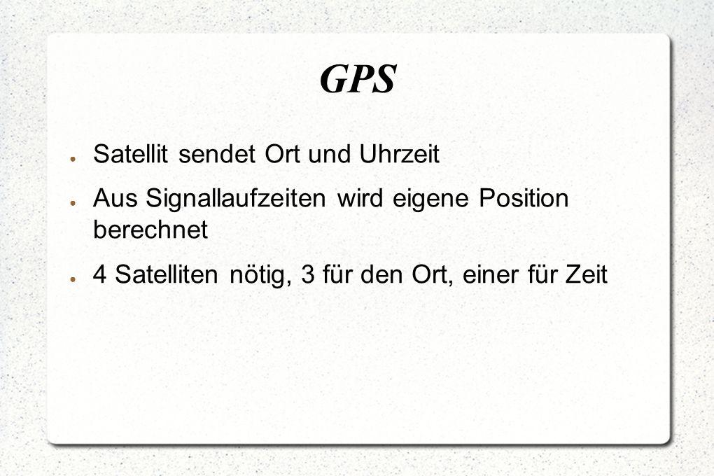 GPS ● Satellit sendet Ort und Uhrzeit ● Aus Signallaufzeiten wird eigene Position berechnet ● 4 Satelliten nötig, 3 für den Ort, einer für Zeit