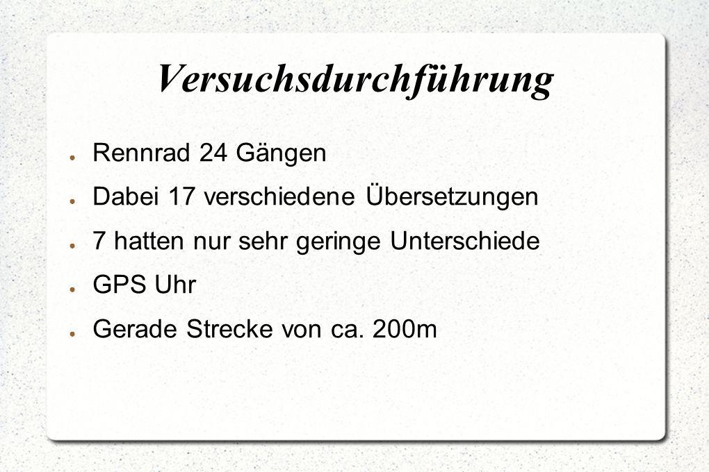 Versuchsdurchführung ● Rennrad 24 Gängen ● Dabei 17 verschiedene Übersetzungen ● 7 hatten nur sehr geringe Unterschiede ● GPS Uhr ● Gerade Strecke von ca.