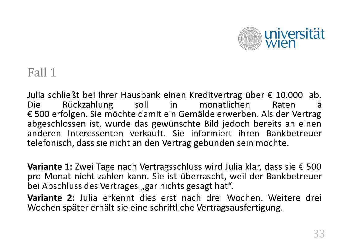33 Fall 1 Julia schließt bei ihrer Hausbank einen Kreditvertrag über € 10.000 ab.