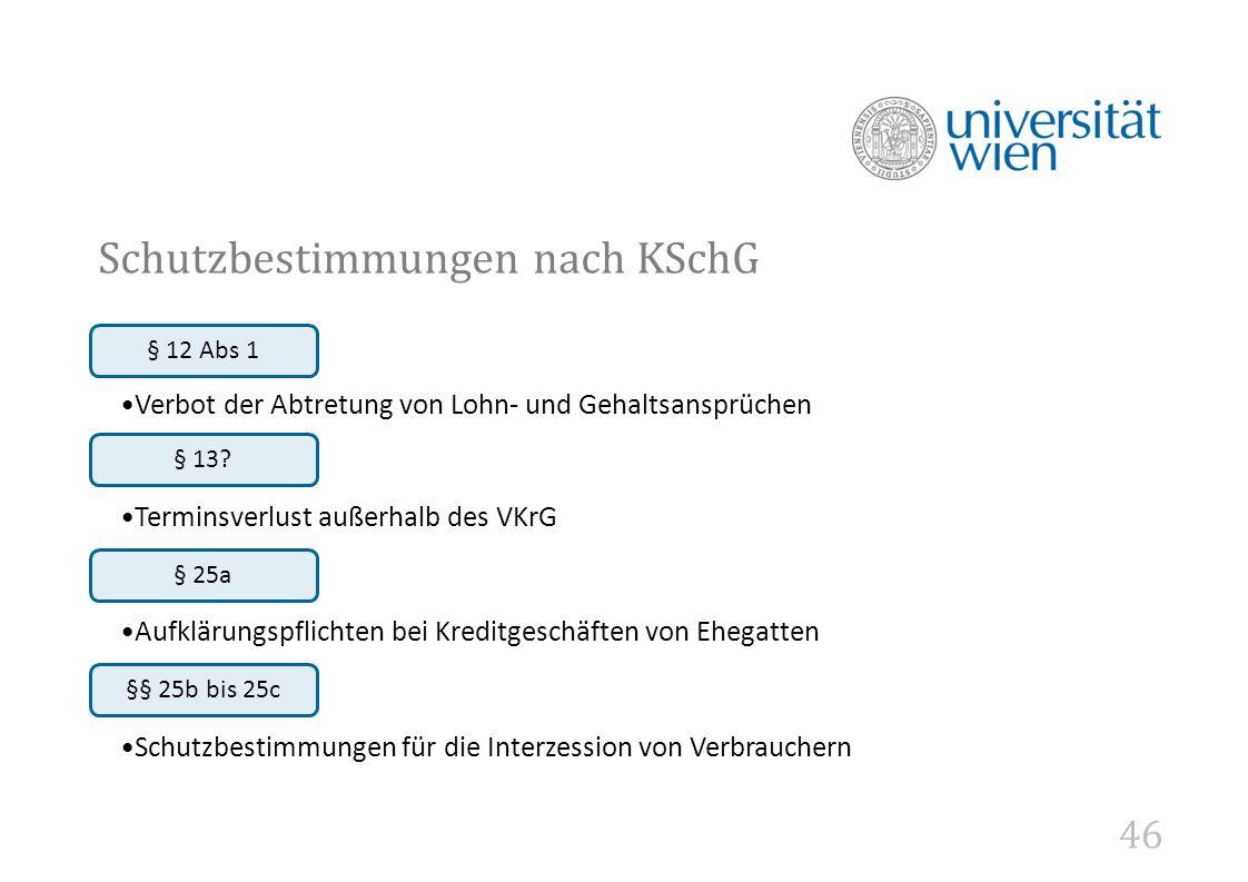 46 Schutzbestimmungen nach KSchG § 12 Abs 1 Verbot der Abtretung von Lohn- und Gehaltsansprüchen § 13.