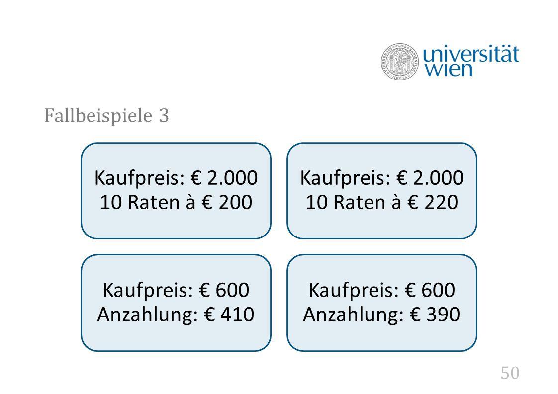 50 Fallbeispiele 3 Kaufpreis: € 2.000 10 Raten à € 200 Kaufpreis: € 2.000 10 Raten à € 220 Kaufpreis: € 600 Anzahlung: € 410 Kaufpreis: € 600 Anzahlung: € 390