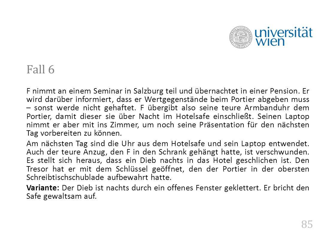 85 Fall 6 F nimmt an einem Seminar in Salzburg teil und übernachtet in einer Pension.
