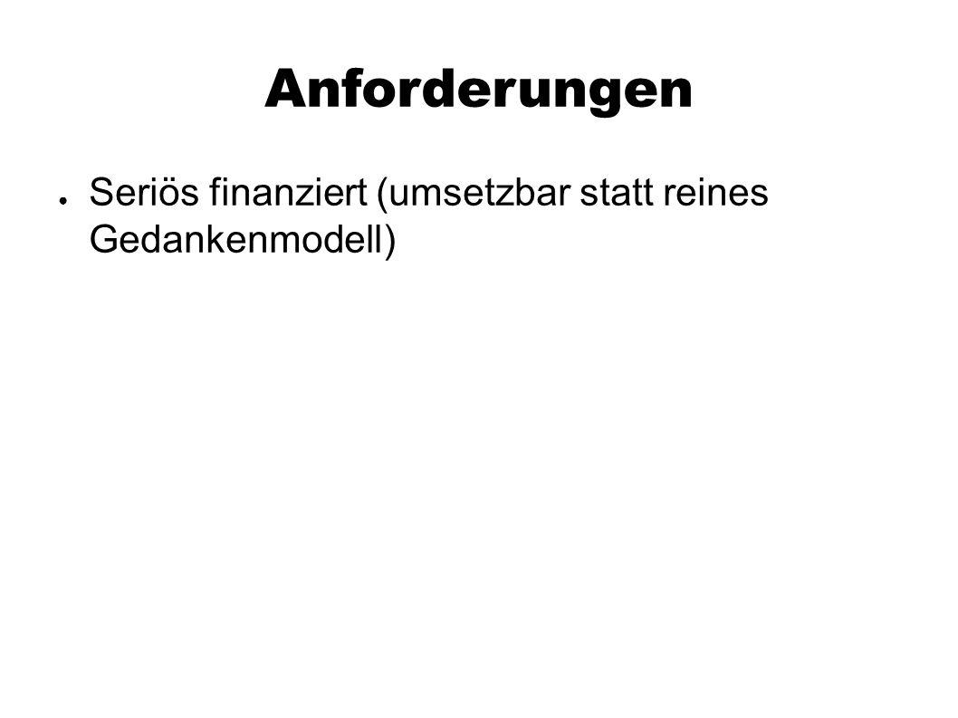 Anforderungen ● Seriös finanziert (umsetzbar statt reines Gedankenmodell)