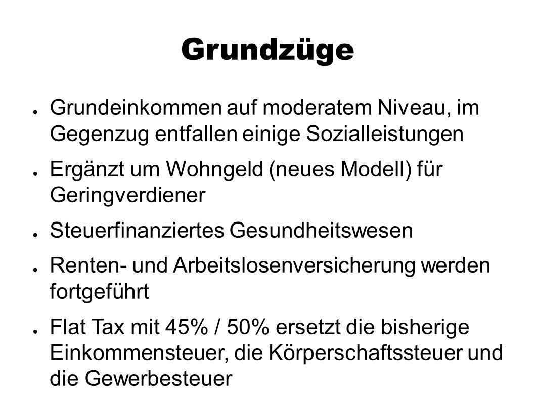 Grundzüge ● Grundeinkommen auf moderatem Niveau, im Gegenzug entfallen einige Sozialleistungen ● Ergänzt um Wohngeld (neues Modell) für Geringverdiene