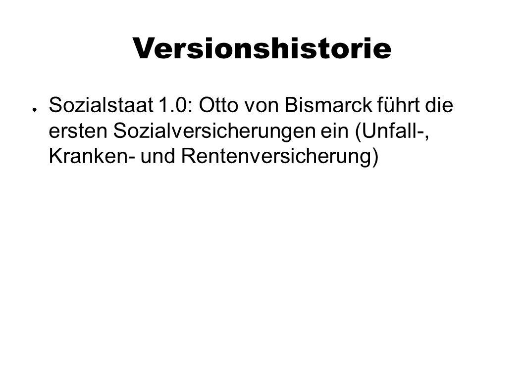 Versionshistorie ● Sozialstaat 1.0: Otto von Bismarck führt die ersten Sozialversicherungen ein (Unfall-, Kranken- und Rentenversicherung)