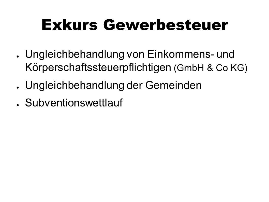 Exkurs Gewerbesteuer ● Ungleichbehandlung von Einkommens- und Körperschaftssteuerpflichtigen (GmbH & Co KG) ● Ungleichbehandlung der Gemeinden ● Subve