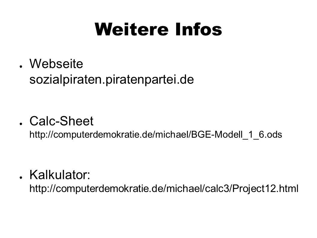 Weitere Infos ● Webseite sozialpiraten.piratenpartei.de ● Calc-Sheet http://computerdemokratie.de/michael/BGE-Modell_1_6.ods ● Kalkulator: http://comp