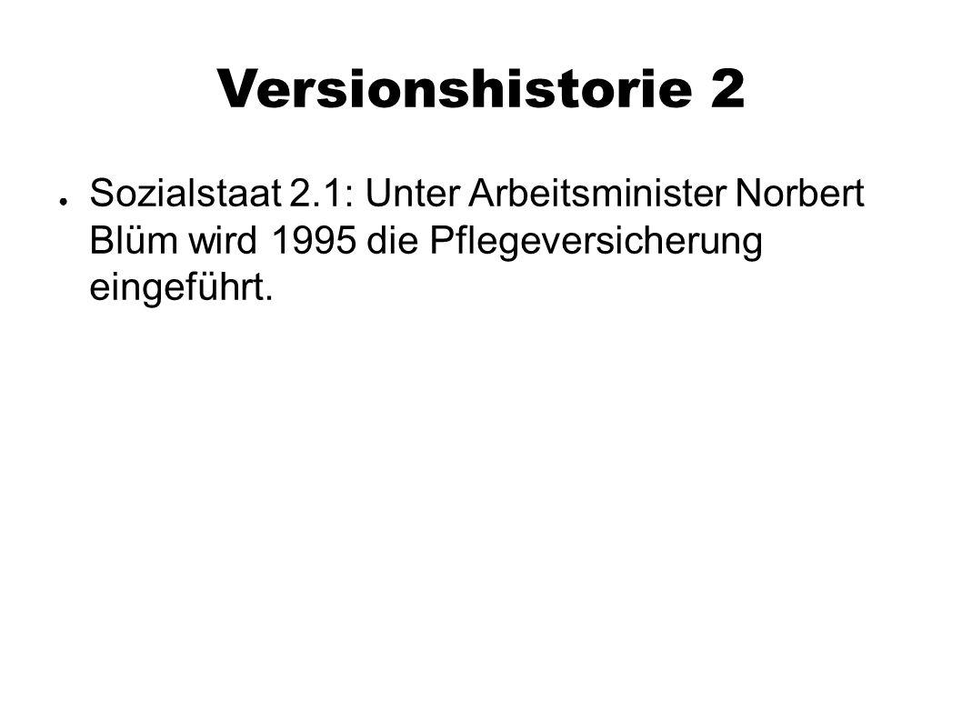 Versionshistorie 2 ● Sozialstaat 2.1: Unter Arbeitsminister Norbert Blüm wird 1995 die Pflegeversicherung eingeführt.