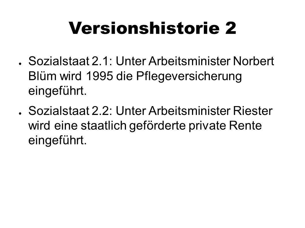 Versionshistorie 2 ● Sozialstaat 2.1: Unter Arbeitsminister Norbert Blüm wird 1995 die Pflegeversicherung eingeführt. ● Sozialstaat 2.2: Unter Arbeits
