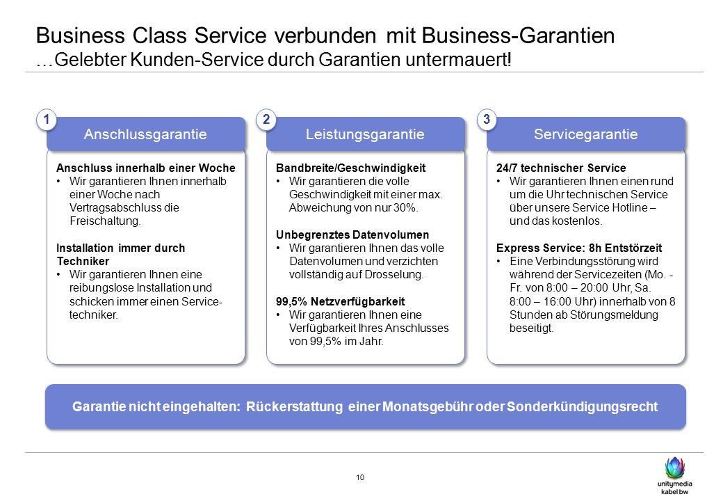 Business Class Service verbunden mit Business-Garantien …Gelebter Kunden-Service durch Garantien untermauert.